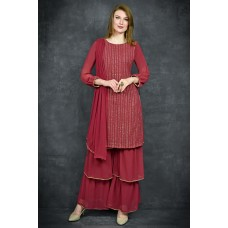 FIRED BRICK DESIGNER THREE LAYERED GHARARA SUIT