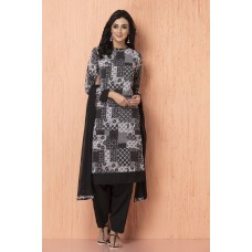 IDC-90 BLACK AND WHITE GEORGETTE AND AMERICAN CREPE PAKISTANI STYLE READY TO WEAR SUIT