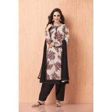 IDC-91 QUIET GREY AND BLACK CREPE AND CHIFFON FLORAL PRINT SALWAR KAMEEZ SUIT (READY MADE)