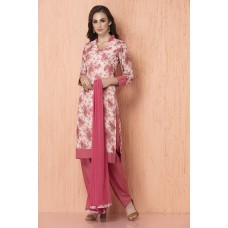 IDC-92 PEACH AND PINK PEACOCK FLORAL PRINTED CREPE AND CHIFFON READY MADE SALWAR SUIT