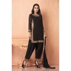 IDC-108 BLACK GEORGETTE AND CHIFFON READY MADE SALWAR SUIT