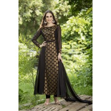 IDC-146 BLACK GEORGETTE EMBROIDERED READY MADE WEDDING WEAR DRESS