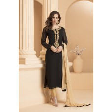 IDC-156 BLACK AND GOLDEN GEORGETTE STRAIGHT CUT READY MADE SUIT