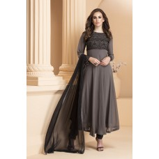 IDC-158 CHARCOAL GREY GEORGETTE READY MADE ANARKALI DRESS