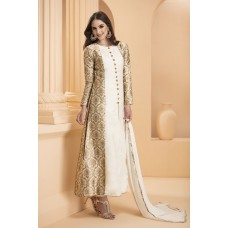 IDC-162 WHITE AND GOLDEN BROCADE DESIGNER READY TO WEAR DRESS