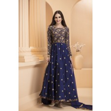 IDC-172 NAVY BLUE SHANTUN EMBROIDERED CIRCULAR STYLE READY MADE DRESS