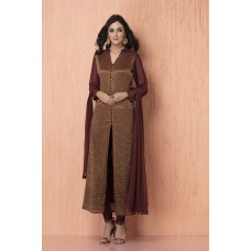 CHOCOLATE BROWN JACKET STYLE CREPE AND CHIFFON READY MADE SUIT
