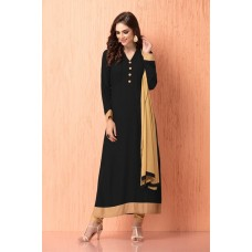 IDC-112 BLACK AND BEIGE GEORGETTE CHURIDAAR READY MADE INDIAN SUIT