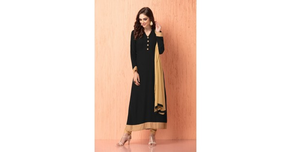 74107400e6 IDC-112 BLACK AND BEIGE GEORGETTE CHURIDAAR READY MADE INDIAN SUIT