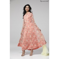 GORGEOUS PEACH FLORAL PRINTED GEORGETTE READY MADE PARTY DRESS