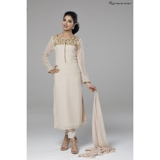 BEIGE FEMININE PASTEL GEORGETTE READY MADE INDIAN STYLISH DRESS