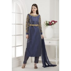 BLUE AND GOLD INDIAN PAKISTANI PARTY WEAR READY MADE SALWAR SUIT