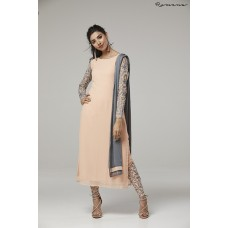 PEACH EMBROIDERED SLEEVES STYLISH READY MADE INDIAN CHURIDAR SUIT