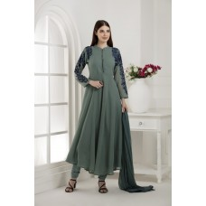 GREEN GEORGETTE FLARED STYLE ANARKALI OUTFIT