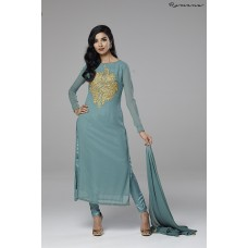 POWDER BLUE GEORGETTE READY TO WEAR INDIAN PARTY WEAR SUIT