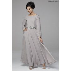 GREY SILVER INDIAN STYLE FLARED MAXI