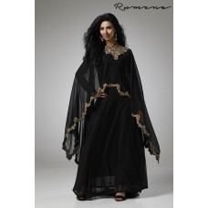 BLACK INDIAN AND PAKISTANI PARTY WEAR CAPE STYLE OUTFIT