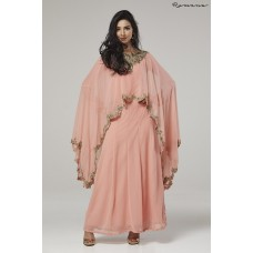 DULL PINK INDIAN AND PAKISTANI PARTY WEAR CAPE STYLE OUTFIT
