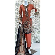 Coral Peach Embroidered Fancy Suit Indian Readymade Dress