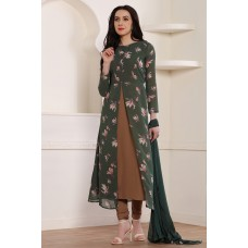 GREEN AND BROWN SLIT STYLE READY MADE PAKISTANI STYLE DRESS