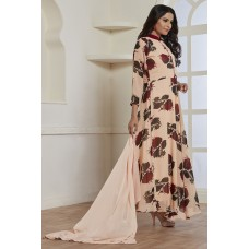 PEACH PRINTED LONG BUTTON READY MADE FROCK STYLE DRESS