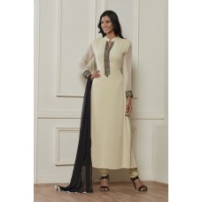 CREAM STRAIGHT CUT READY MADE MODEST CHURIDAAR SUIT