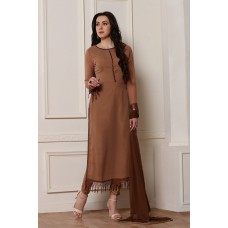MEERKAT BROWN EMBROIDERED PAKISTANI STYLE READY MADE SALWAR SUIT