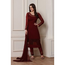 WINE RED GEORGETTE INDIAN DESIGNER READY MADE SALWAR SUIT