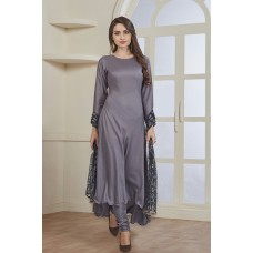 AMAZING NEW STEEL GREY READY MADE PEARL DUPATTA SALWAR SUIT