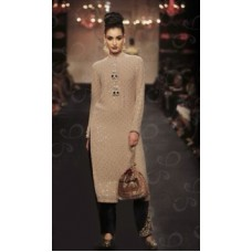 BEIGE AND BLACK READY MADE INDIAN FASHION STYLE SALWAR SUIT