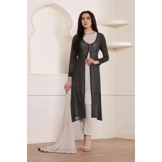 BLACK AND WHITE JACKET STYLE GEORGETTE READY MADE SUMMER DRESS