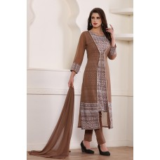 STUNNING BROWN JACKET STYLE READY MADE SALWAR SUIT
