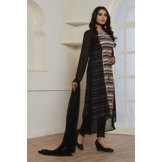 BLACK GEORGETTE JACKET STYLE READY MADE SUIT