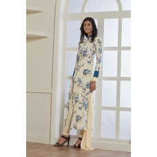 CREAM FLORAL PRINTED CREPE READY MADE SUIT