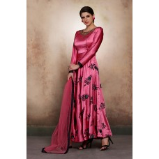 BEAUTIFUL BRIGHT FUCHSIA FLARED DESIGNER READY TO WEAR DRESS