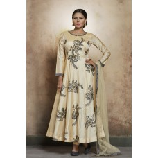 BEIGE ROYAL READY MADE ANARKALI GOWN DRESS