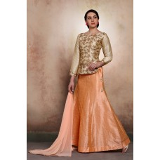 GOLD AND PEACH SILK BANGLORI SKIRT STYLE READY TO WEAR WEDDING DRESS