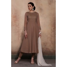 BROWN INDIAN PARTY WEAR WEAR READY MADE FROCK STYLE DRESS