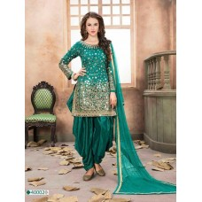STUNNING TAPETA SILK MIRROR WORK PATIALA PUNJABI STYLISH INDIAN SUIT (READY MADE)