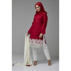 RED AND OFF WHITE READY TO WEAR CASUAL SUIT
