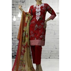 IDC-404 RED EMBROIDERED READY MADE WINTER WEAR SALWAR KAMEEZ