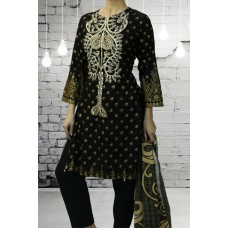 IDC-400 BLACK EMBROIDERED READY MADE WINTER WEAR SALWAR KAMEEZ
