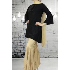 IDC-408 BLACK EMBROIDERED READY MADE WINTER WEAR SUIT WITH GHARARA PANTS