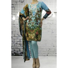 IDC-405 BLUE PRINTED READY MADE WINTER WEAR SALWAR KAMEEZ