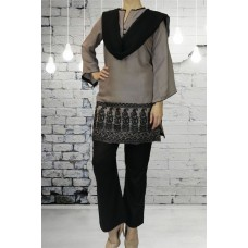 IDC-411 BLACK AND GREY LINEN  EMBROIDERED SALWAR KAMEEZ (READYMADE)