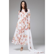 OFF WHITE FLORAL PATTERN PRINTED READY MADE SUIT