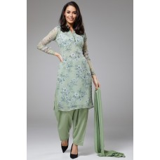 PISTA GREEN PRINTED KAMEEZ AND SALWAR SUIT