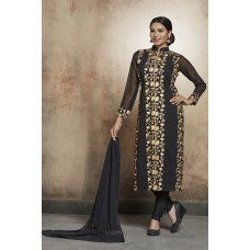 EXCELLENT QUALITY BLACK GEORGETTE STRAIGHT CUT INDIAN PARTY WEAR SUIT