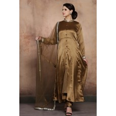 STUNNING ANTIQUE GOLD SLIT STYLE INDIAN WEDDING STYLE READY MADE SALWAR SUIT