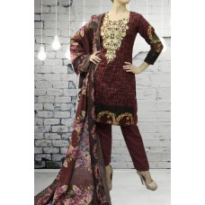IDC-419 PURPLE PRINTED AND EMBROIDERED READY MADE PAKISTANI STYLE SALWAR KAMEEZ